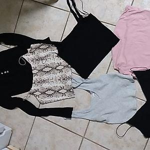 6 crop tops & sweater